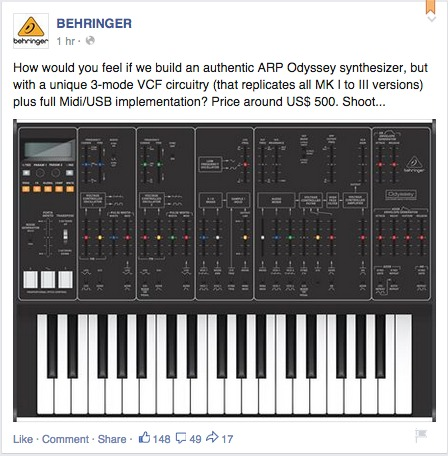 Behringer - Would You Like A $500 ARP Odyssey Re-make?