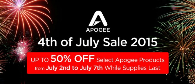 Apogee Announces 4th of July Sale
