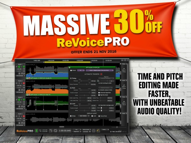 ReVoice Pro Time and Pitch Software on Sale Till November 21st
